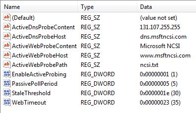 registry settings