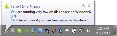 Low Disk Space Popup