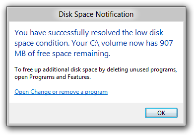 Disk Space Issue Resolved