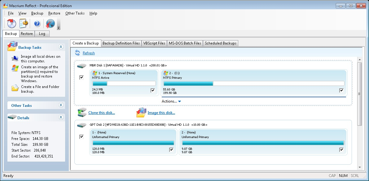 Macrium Reflect showing MBR/GPT Disks